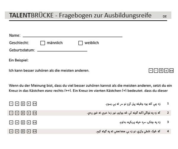 Ausbildungsreife - Der TALENTBRÜCKE FzA